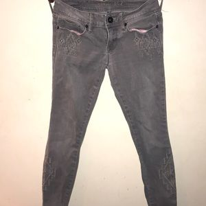PacSun Bullhead Black Grey embroidered Jeans